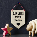Personalised Baby Keepsake Heart Hanging Wooden Flag