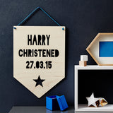 Personalised Christening Star Hanging Wooden Flag