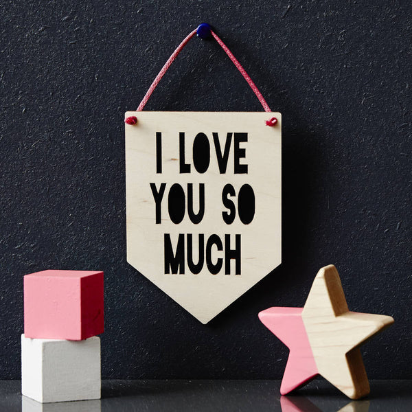 Personalised Message Hanging Wooden Flag