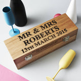 Personalised Wedding Gift Oak Bottle Box
