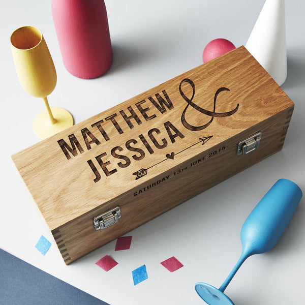 Personalised Wedding Oak Bottle Box