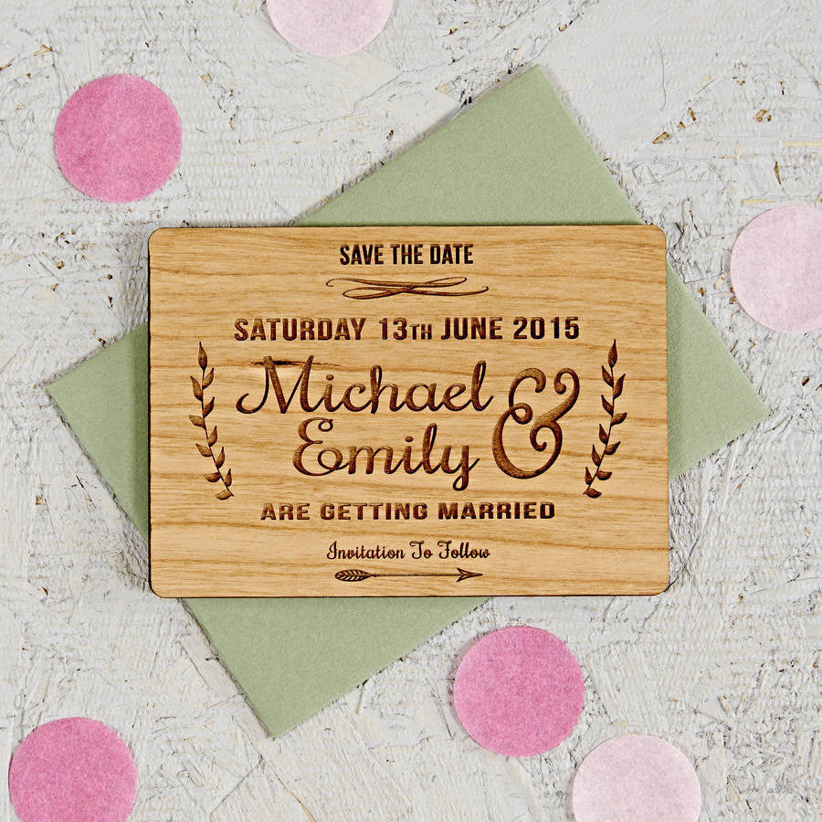 Floral Wooden Save The Date