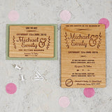 Floral Wooden Wedding Invitation