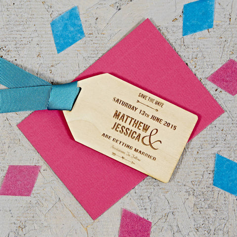 Natural Arrow Wooden Save The Date Gift Tag