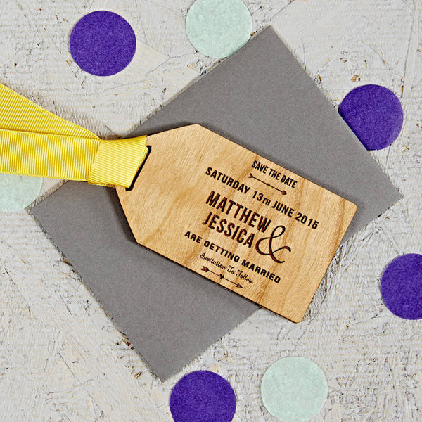 Arrow Wooden Save The Date Gift Tag