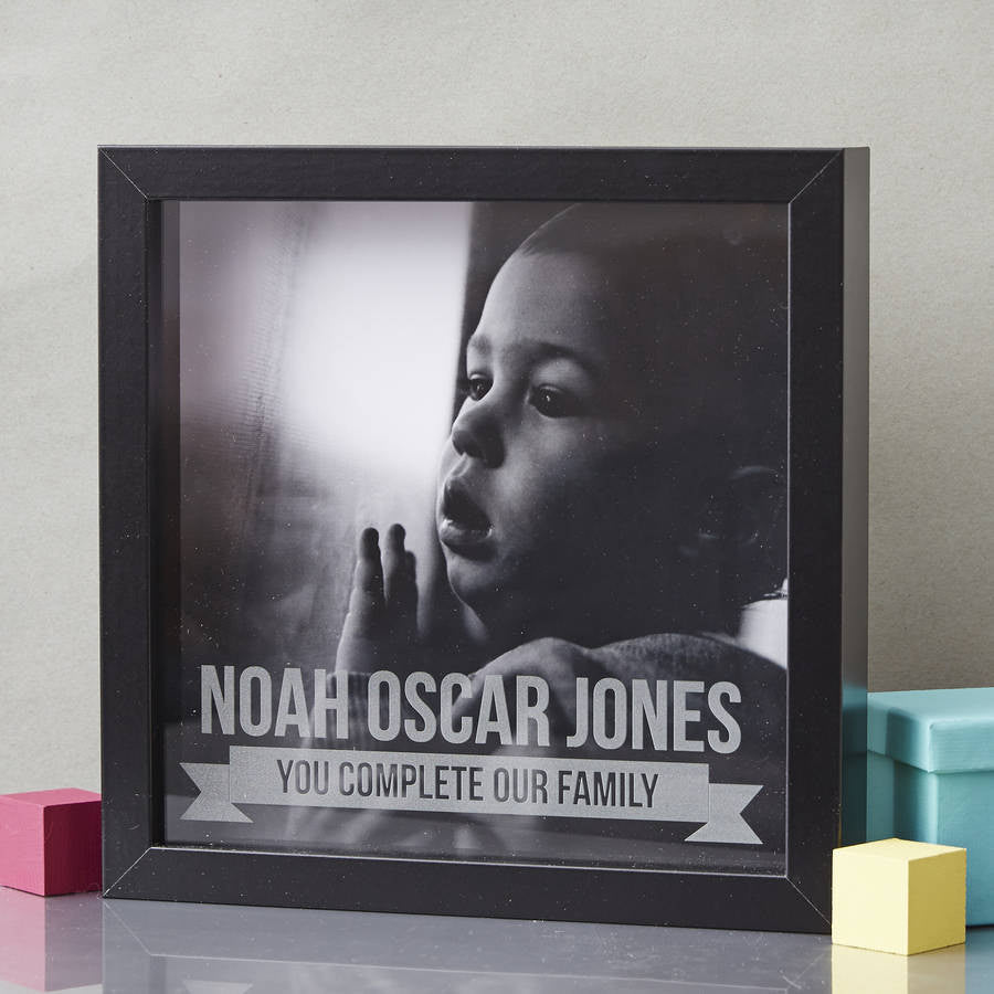 Personalised Baby Etched Framed Print