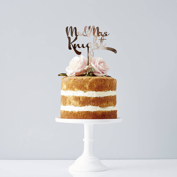 Personalised Calligraphy Wedding Cake Topper