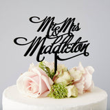 Personalised Mr And Mrs Elegant Wedding Cake Topper