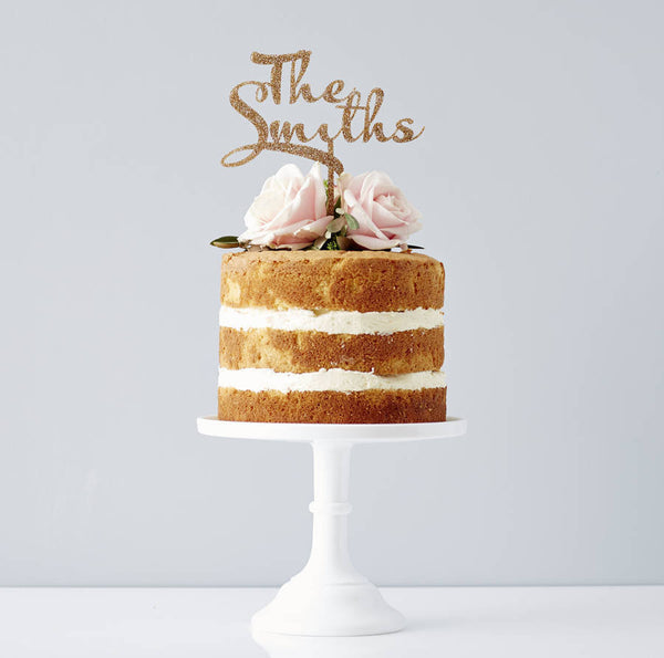 Personalised Calligraphy Surname Wedding Cake Topper