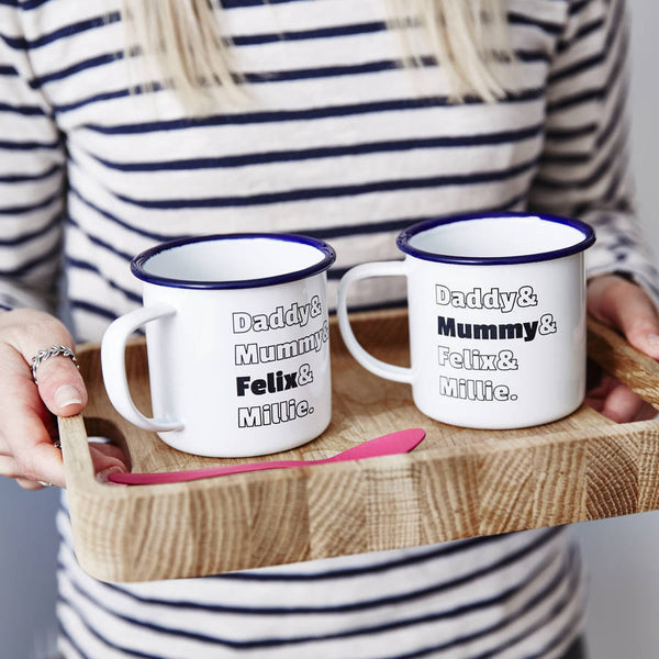 Enamel Personalised Family Mug