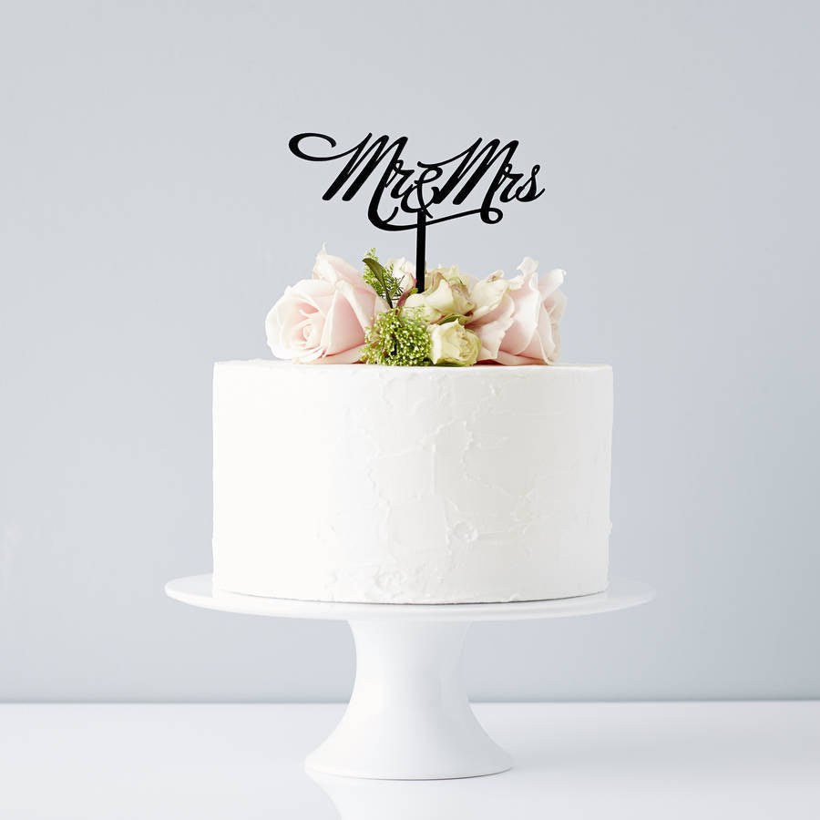 Elegant Mr and Mrs Wedding Cake Topper