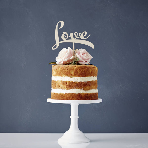 Calligraphy 'Love' Wooden Cake Topper