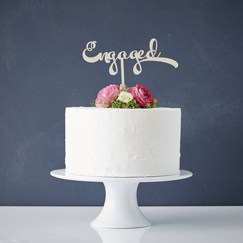 Calligraphy 'Engaged' Wooden Cake Topper