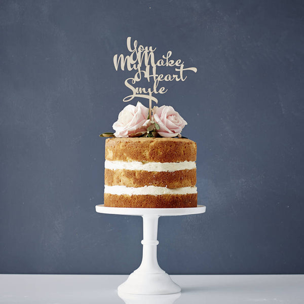 Calligraphy Song Lyrics Wooden Wedding Cake Topper