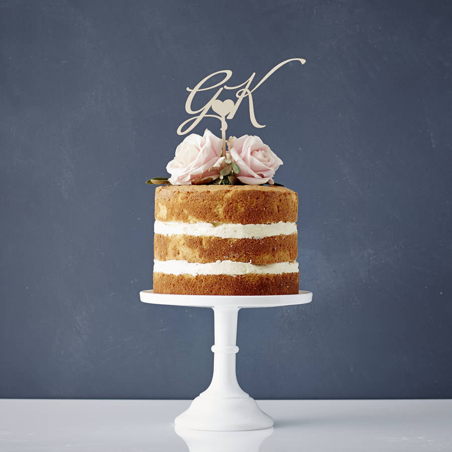 Elegant Personalised 'Initials' Wooden Cake Topper