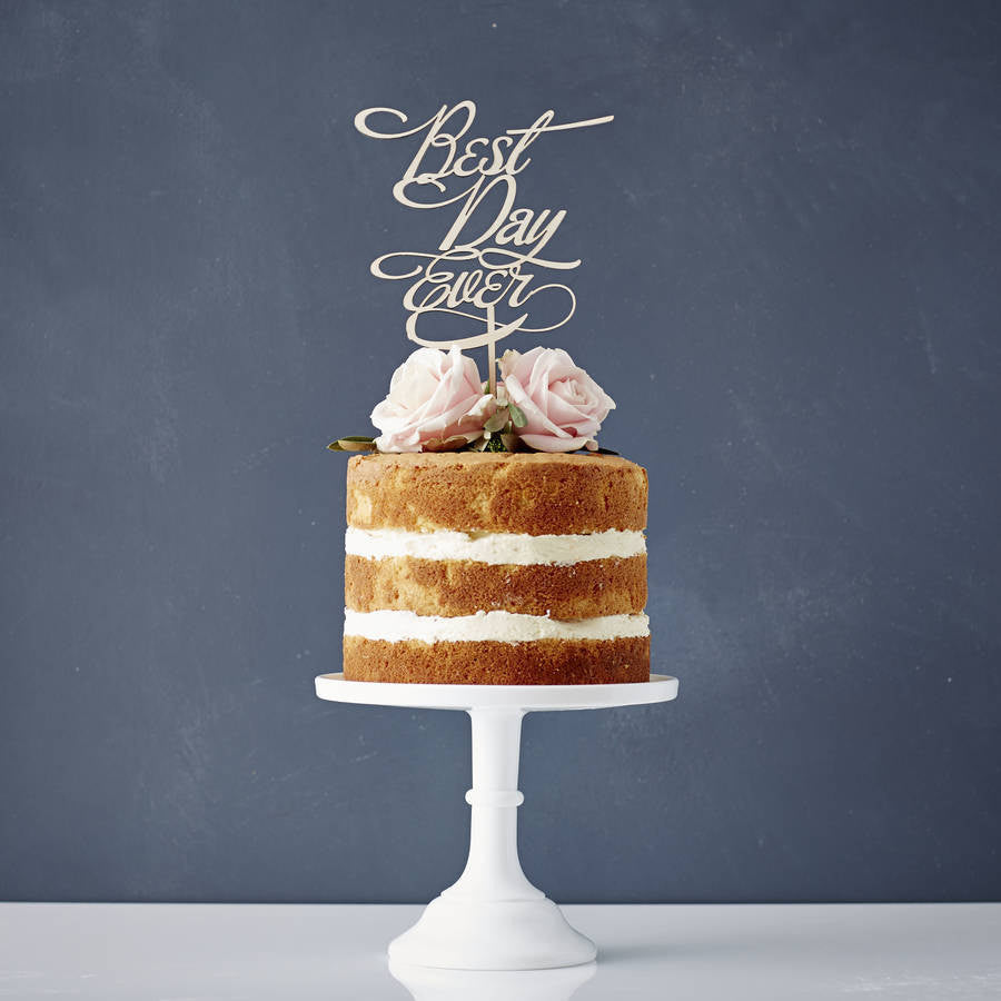 Elegant 'Best Day Ever' Wooden Wedding Cake Topper
