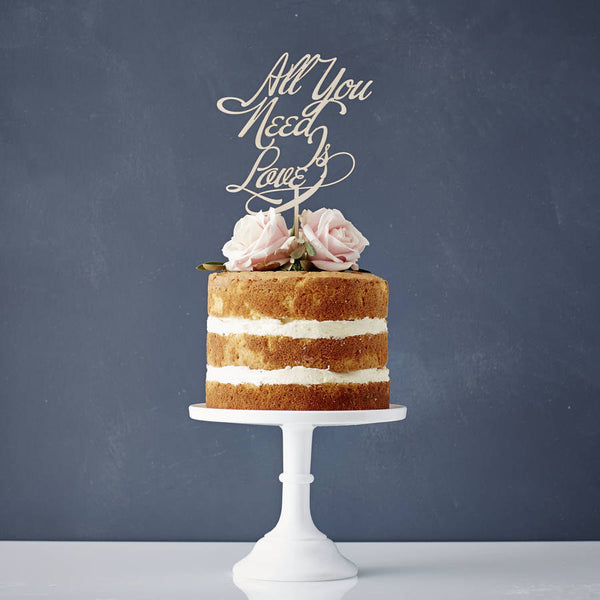 Elegant All You Need Is Love Wooden Wedding Cake Topper