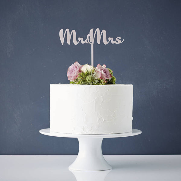 Calligraphy Mr and Mrs Wedding Cake Topper
