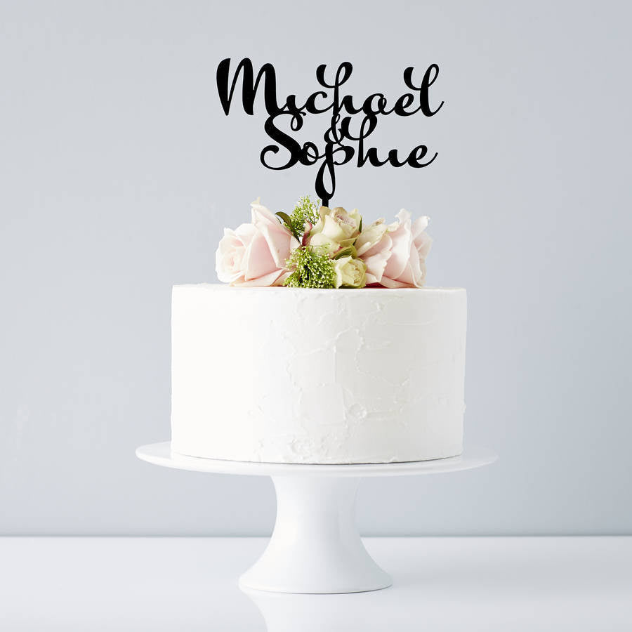 Personalised Calligraphy Couples Wedding Cake Topper