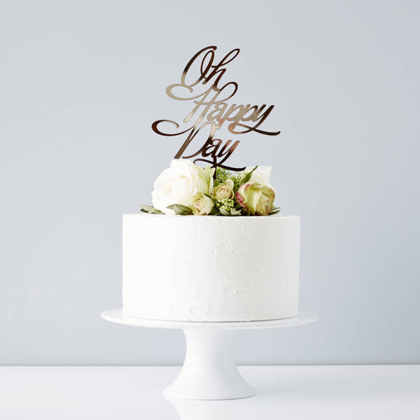 Elegant 'Oh Happy Day' Wedding Cake Topper