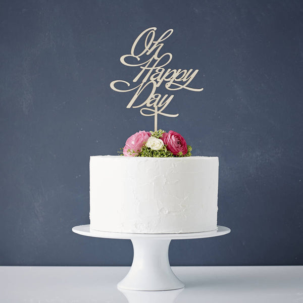 Elegant 'Oh Happy Day' Wooden Wedding Cake Topper