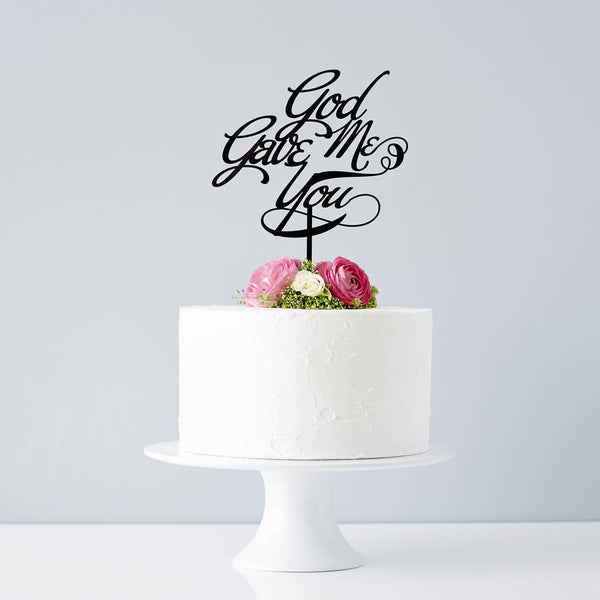 Elegant 'God Gave Me You' Wedding Cake Topper