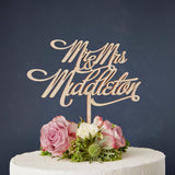 Personalised Mr And Mrs Elegant Wooden Cake Topper
