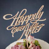 Elegant 'Happily Ever After' Wooden Wedding Cake Topper