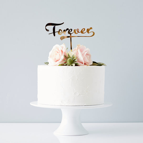 Calligraphy 'Forever' Wedding Cake Topper
