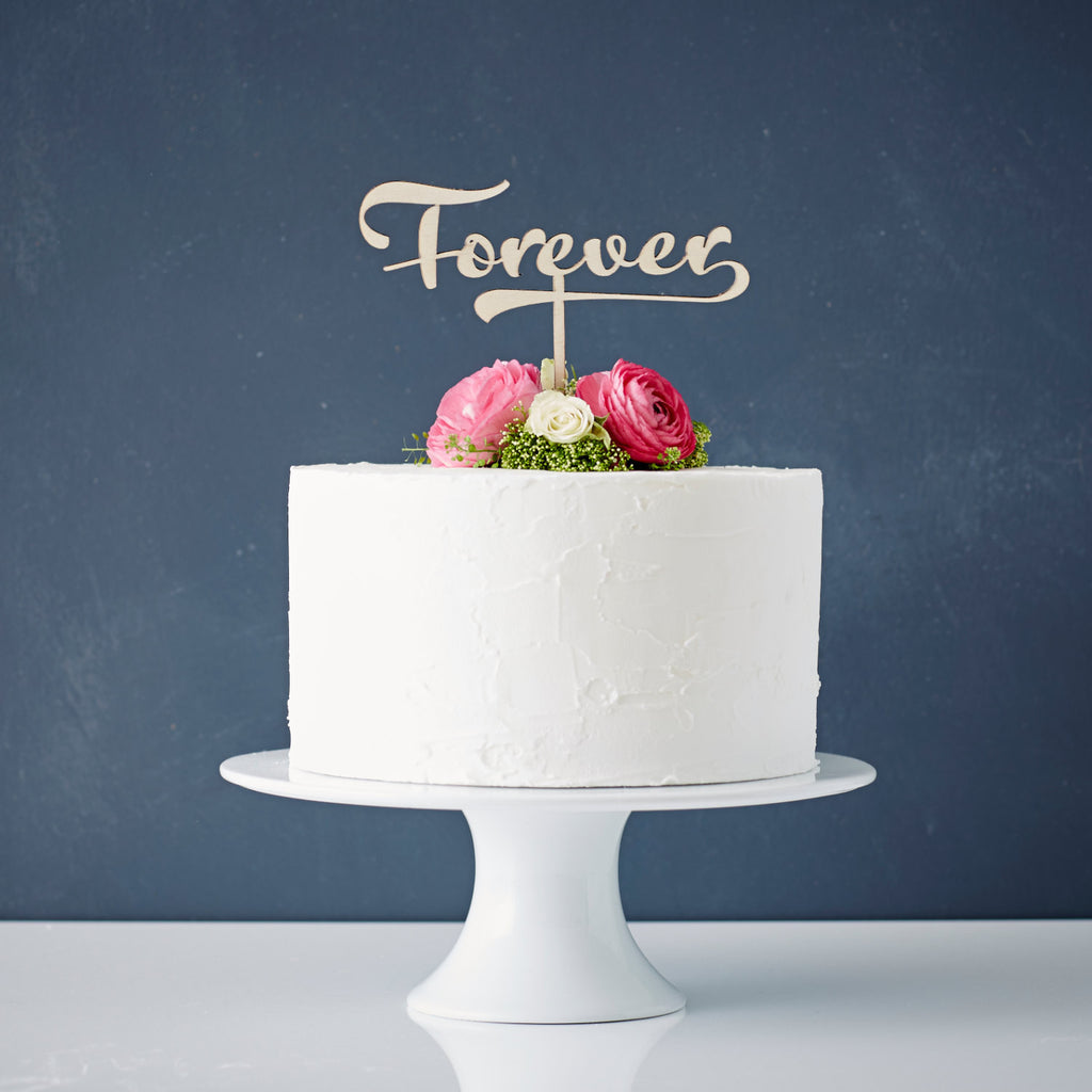 Calligraphy 'Forever' Wooden Wedding Cake Topper