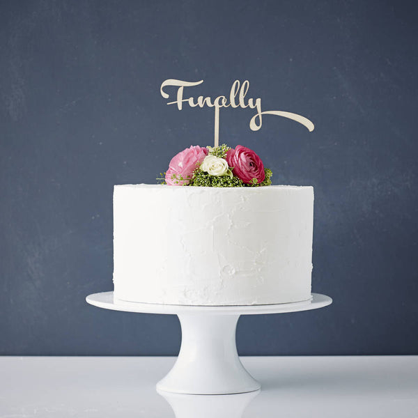 Calligraphy 'Finally' Wooden Wedding Cake Topper