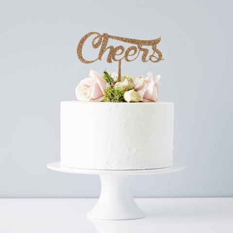 Cheers Wedding Cake Topper