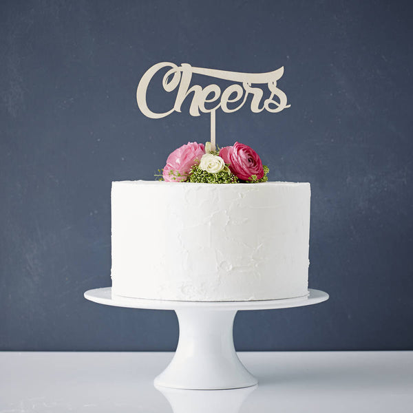 Cheers Wooden Wedding Cake Topper