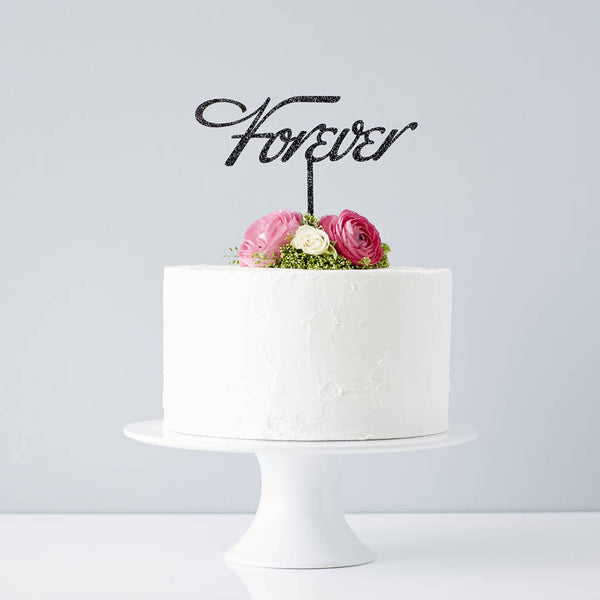 Elegant 'Forever' Wedding Cake Topper