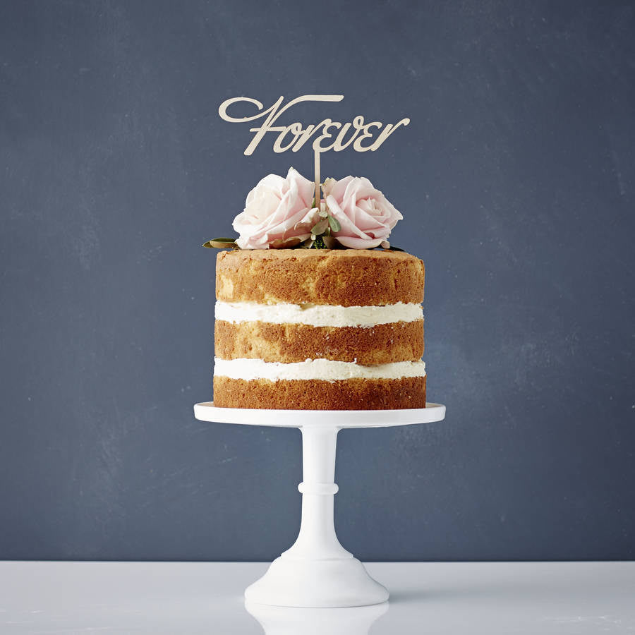 Elegant 'Forever' Wooden Wedding Cake Topper