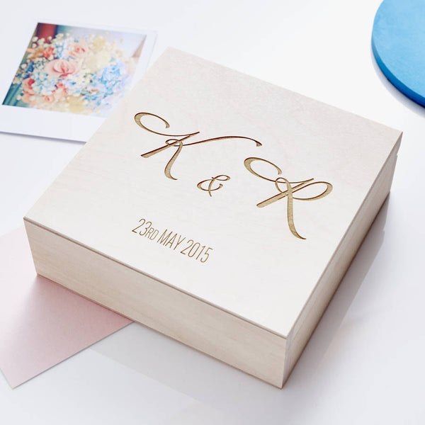 Personalised Elegant Initials Wedding Keepsake Box