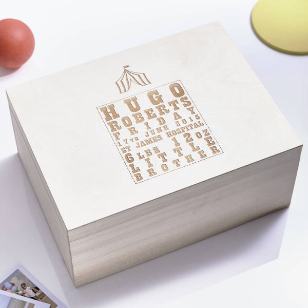 Large Personalised Circus Wooden Baby Keepsake Box