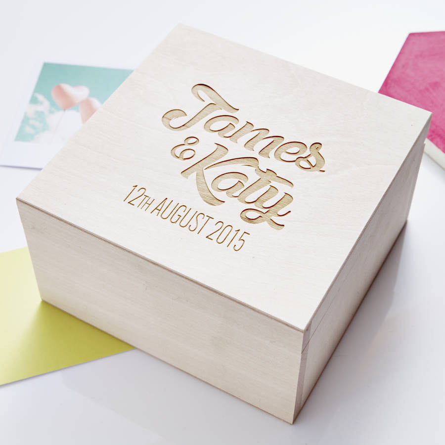 Wooden Personalised Couples Keepsake Box