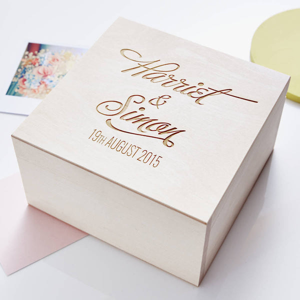 Elegant Personalised Couples Keepsake Box