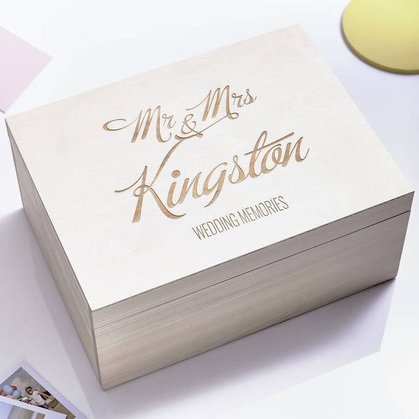 Large Personalised Elegant Wedding Keepsake Box