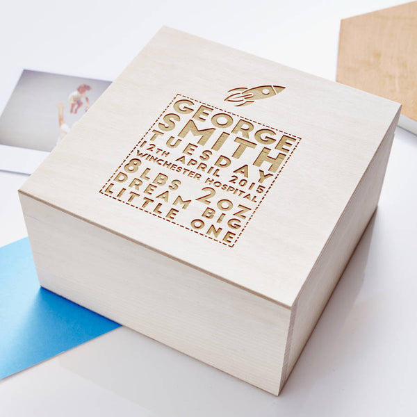 Personalised Space Wooden Baby Keepsake Box