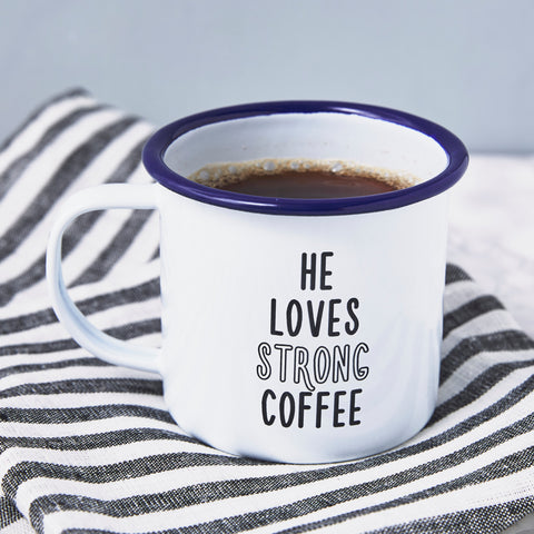 Enamel 'He Loves' Personalised Mug