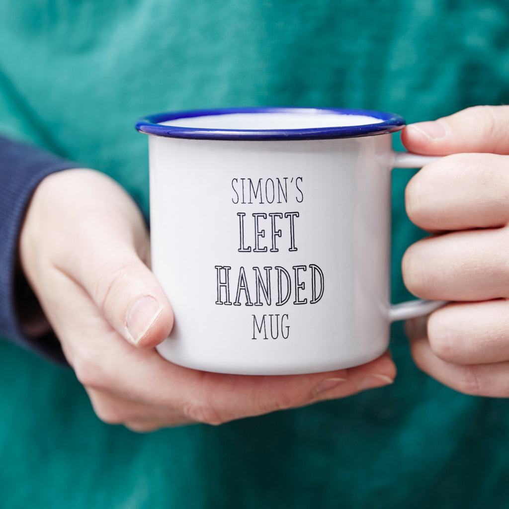 Left Handed Personalised Enamel Mug