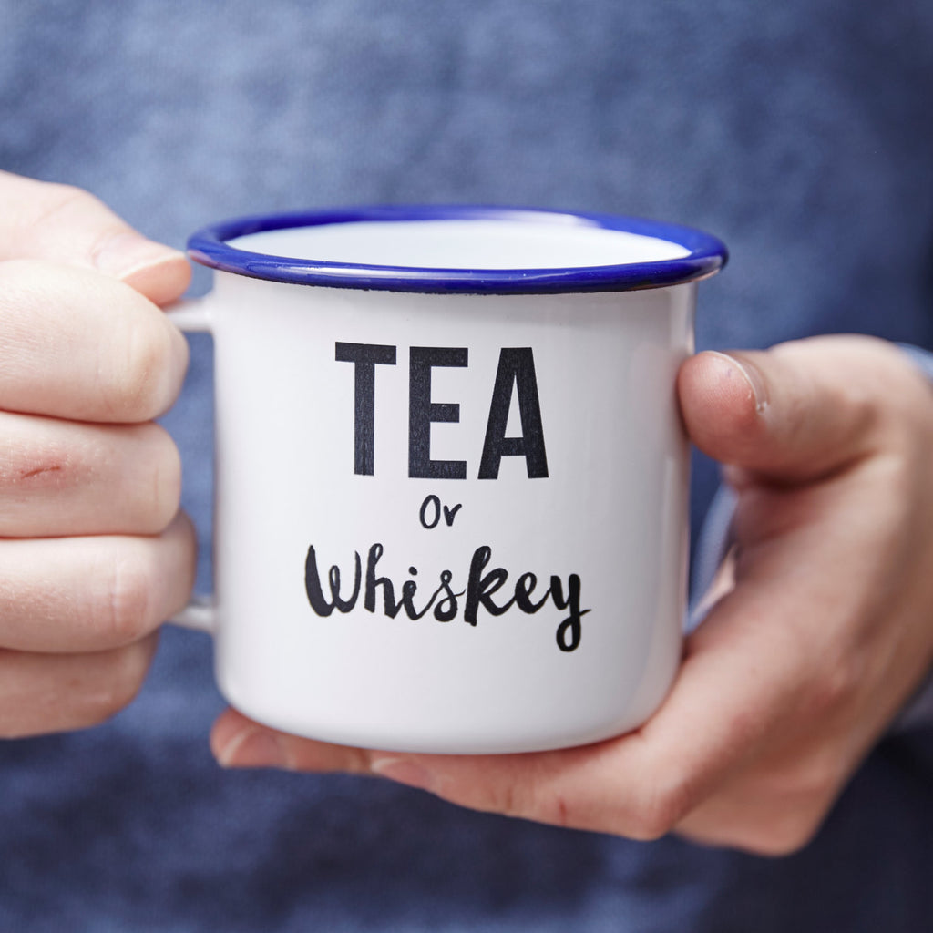 Enamel 'Tea Or Whiskey' Personalised Mug