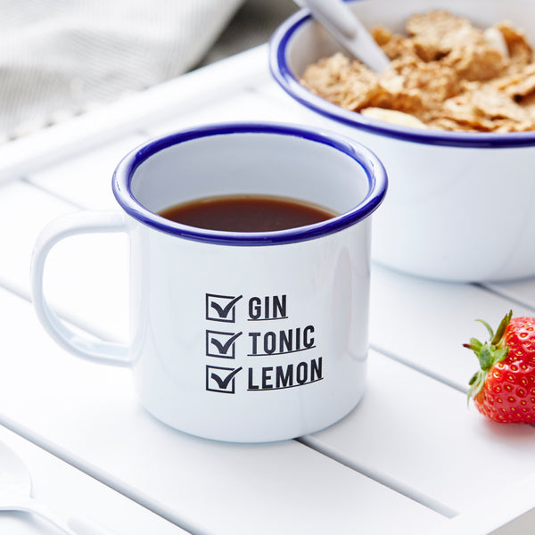 Check List Personalised Enamel Mug