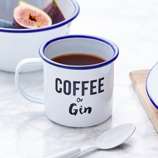 Coffee Or Gin Personalised Enamel Mug