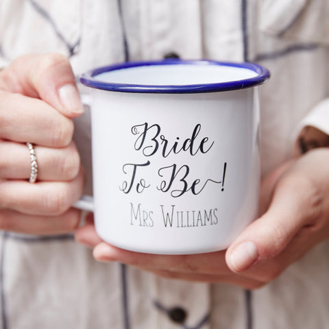 Bride To Be Enamel Personalised Mug
