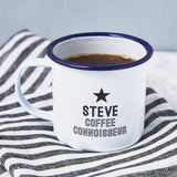 Coffee Connoisseur Enamel Personalised Mug