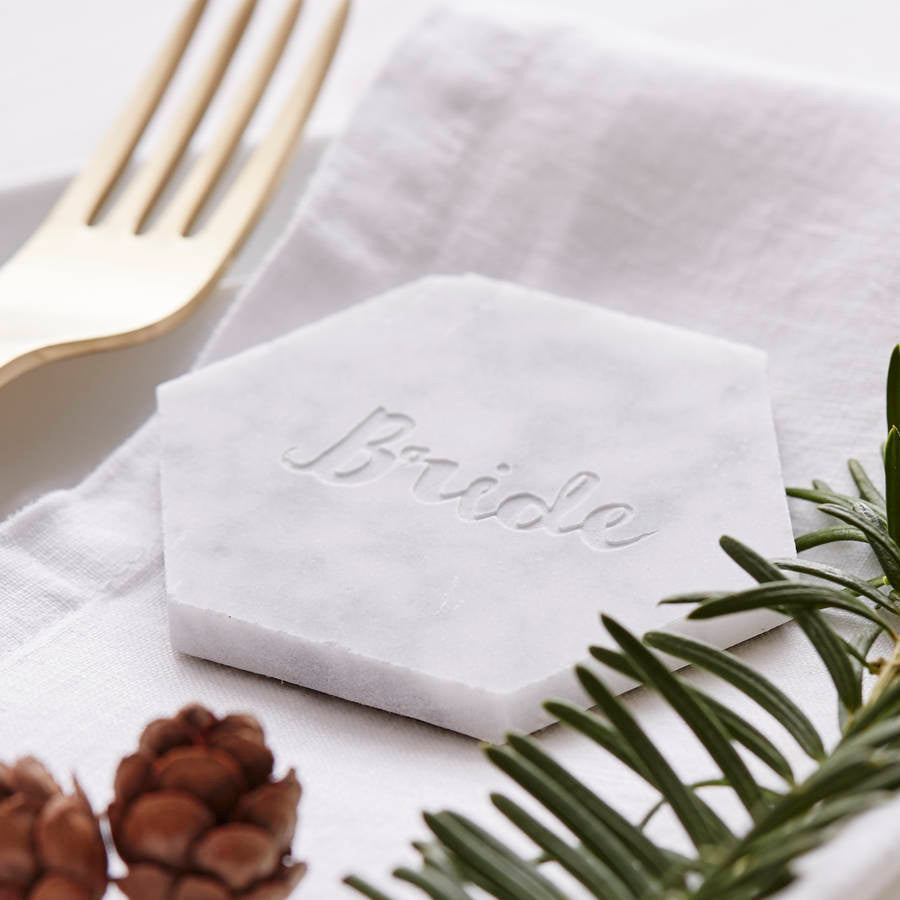 Marble Personalised Wedding Place Setting