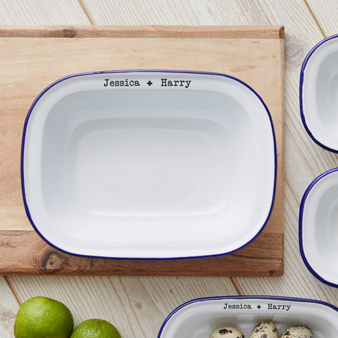 Enamel Personalised Couples Pie Dish